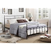 Baxton Studio Ester Modern & Contemporary Victorian Iron Metal Platform Bed, Queen, Dark Bronze