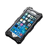 NEW R-just Gundam Series Waterproof Protective Case Snow-resistant Dustproof Shockproof Shell Heavy Duty Metal Cover Tempered Glass For Iphone SE/5/5s - Black