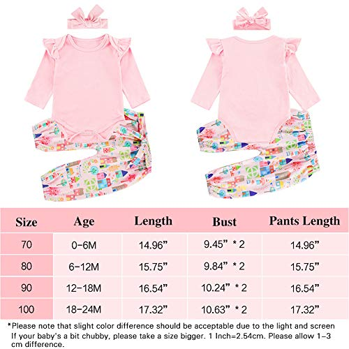 Baby Girl Outfit for 18-24 Months Long Sleeve Onesie Rompers Printed Pants Little Boy Outdoor Bodysuit with Headband Set 3Pcs Spring Fall Outfits 6-12 Months