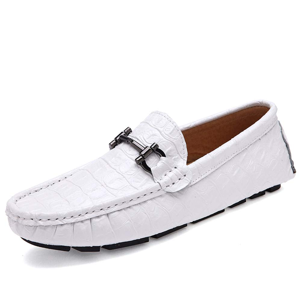White JUJIANFU-shoes Men's Comfortable Leisure Driving Loafer Rubber Sole Excellent Soft Crocodile Skin Texure Flat Heel Wave Sole Moccasins shoes