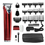 Wahl Clipper Stainless Steel Lithium Ion Plus Beard Trimmer Kit Red No.9864R Cordless Rechargeable Men's Grooming Kit for Haircuts and Beard Trimming