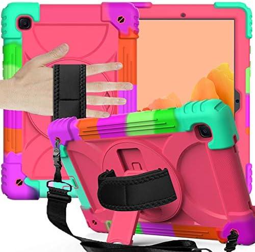SamsungGalaxyTabA7Case 2020, Galaxy Tab A7 10.4 Case (SM-T500/T505/T507), [Three Layer Hybrid][Swivel Stand][Hand Strap][Shoulder Strap] Case for Samsung Galaxy Tab A7 10.4 inch 2020, Rose