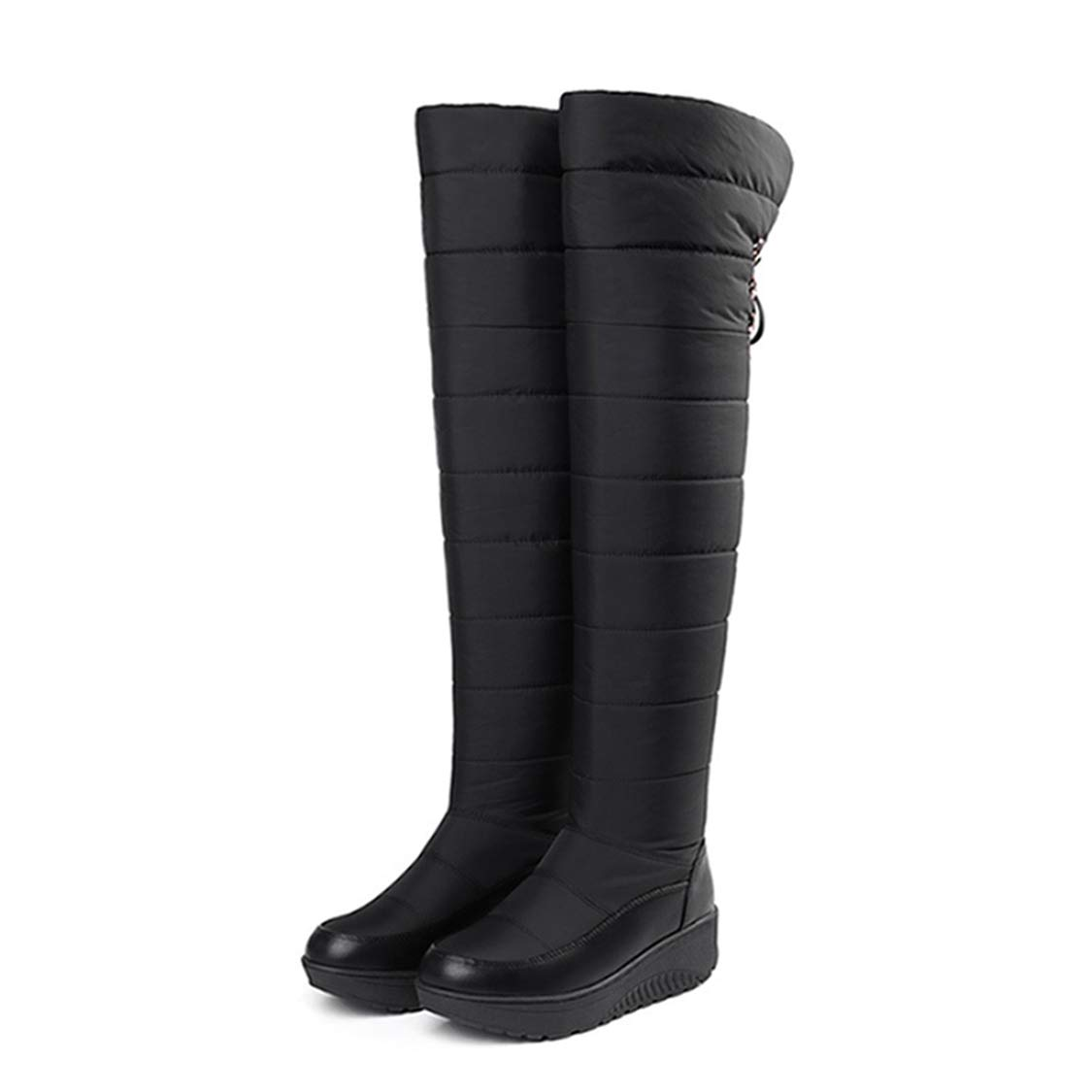 Black DOSOMI Women's Waterproof Sexy Winter Fully Down Lined Middle Heel Round Toe Snow Over-The-Knee High Boots