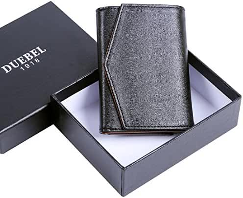 DUEBEL Mini Card Wallet for Businiess Gentlemen - Mens RFID Trifold Genuine Leather Wallet - Easy Access to 10 Cards in 1 Second, Fit Any Cash