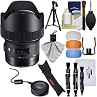 Sigma 14mm f/1.8 ART DG HSM Lens with USB Dock + Pistol Grip Tripod & Case + Kit for Canon EOS Digital SLR Cameras