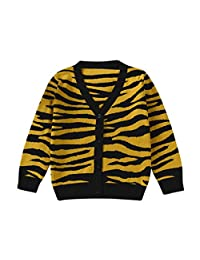 TONSEE Toddler Baby V-neck Tiger leopard Knitted Cardigan Sweater