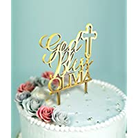 God Bless Baptism Cake Topper with Customizable Name and Color D-19