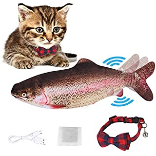flowlamp Electric Moving Fish Cat Toy, Realistic Plush Simulation Electric Doll Fish,Plush Simulation Electric Wagging Fish Cat Toy