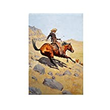 "Alonline Art - The Cowboy Frederic Remington VINYL STICKER DECAL 16""x24"" - 41x61cm Wall Decor Sticker Adhesive Vinyl Decal For Kitchen Artwork For Bedroom Wall Stickers Vinyl Wall Decal"