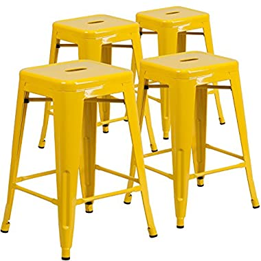 Flash Furniture Backless Metal Indoor/Outdoor Stool with Square Seat (4 Pack), 24 , Yellow