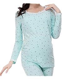 Maternity Nursing Thermal Underwear Sleep Set Winter Nursing Pajamas Sleepwear