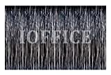 Kitchen Window Curtains Diy Metallic Black Foil Fringe Curtains 12 ft X 8 ft. Door Window Curtain Party Decoration (12' x 8', Black)