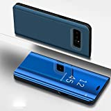 Samsung Galaxy Note 5 Case,IKASEFU PU Leather Electroplate Plating Stand PC Mirror Flip Folio Case Cover Protective Ultra Slim Thin Full Body Protective Case Cover for Samsung Galaxy Note 5,Blue