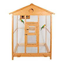"""Magshion 69"""" Deluxe House Shape Bird Cage with Hatch Room, Feed Door, Perch,Tray Natural Aviary"""