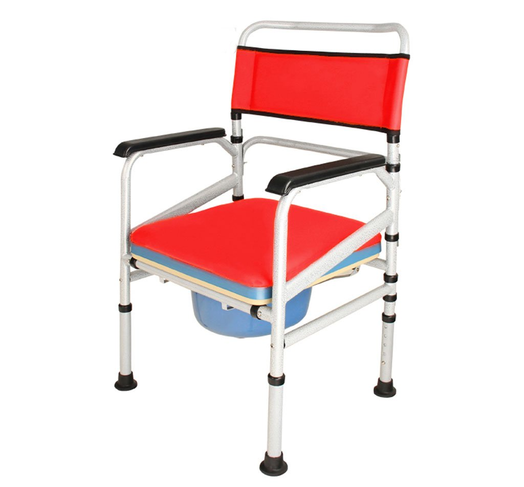 Folding chair SHI Xiang Shop Ältere Falttoilette schwarz Größe  92cmX46cmX 53cm A+ (Farbe   Rot)
