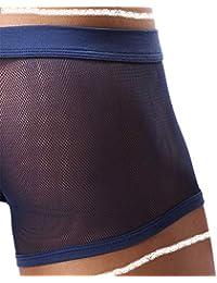 7ea9a05e1 Men s Boxers Sexy Underwear Mesh Breathable Gay Low Rise Boxer Briefs (36Navy