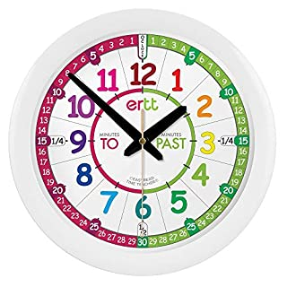 "EasyRead time teacher Children's Wall Clock with Simple 3 Step Teaching System. 12"" Dia, Learn to Tell The time, Ages 5-12."