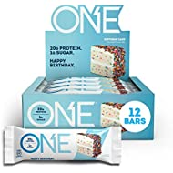 ONE Protein Bars, Birthday Cake, Gluten Free Protein Bars with 20g Protein and only 1g Sugar, Guilt-Free Snacking for High Protein Diets, 2.12 oz (12 Pack)