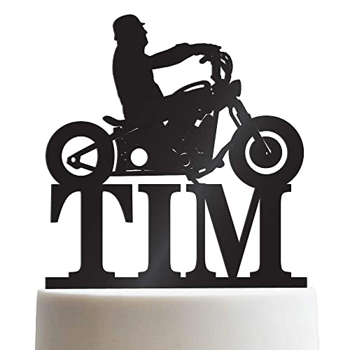 Biker Silhouette Chopper Motorcycle Personalized Cake Topper Birthday For Men Customized HD