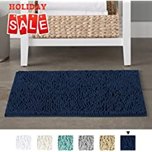Non-Slip Push Microfiber Bath Rugs Chenille Floor Mat Ultra Soft Washable Bathroom Dry Fast Water Absorbent Bedroom Area Rugs Kitchen Rugs Non Skid, 17 x 24 inches, Navy Rug