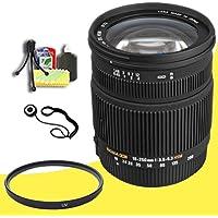 Sigma 18-250mm f/3.5-6.3 DC OS HSM IF Lens for Canon AF Digital SLR Cameras + 72mm UV Filter + Lens Cap Keeper + Deluxe Starter Kit DavisMAX Bundle