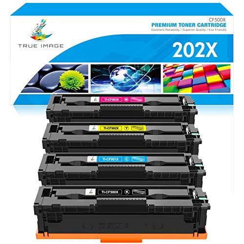 True Image Compatible Toner Cartridge Replacement for HP 202X CF500X CF500A 202A HP Color Laserjet Pro MFP M281fdw M281cdw M254dw M281fdn M254 M281 Toner Cartridge (Black Cyan Yellow Magenta, 4-Pack)