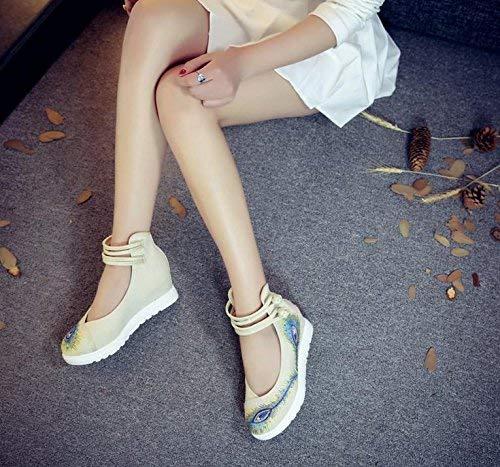 Fuxitoggo Bestickte Schuhe Leinen Sehnensohle Ethno-Stil Frauenschuhe Mode bequem lässig Meter weiß 41 (Farbe   - Größe   -)