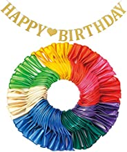 LYESHY 114 Pack Pearl Party Balloons & Banners of Happy Birthday Letters Set, 12 Inches Thickened Rainbow