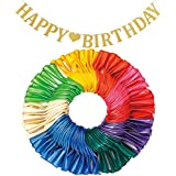 LYESHY 114 Pack Pearl Party Balloons & Banners of Happy Birthday Letters Set, 12 Inches Thickened Rainbow Latex Balloon for Arch, Garland, Festival, Christmas