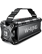 50W Bluetooth Speaker Loud Punchy Bass, W-KING IPX6 Waterproof Portable Bluetooth Speaker with 24H Playtime/8000mAh Power Bank, Bluetooth 5.0 Outdoor Speaker Support TF Card/NFC/AUX
