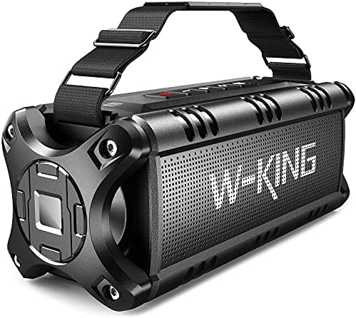 Bluetooth Speaker Loud 50W Punchy Bass, W-KING IPX6 Waterproof Transportable Bluetooth Speaker with 8000mAh Energy Financial institution, Bluetooth 5.0 Out of doors Speaker Assist TWS/TF Card/NFC/24H Playtime/AUX