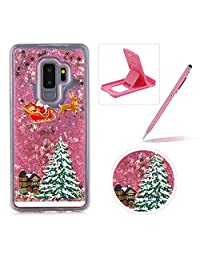 Liquid Case for Samsung Galaxy Note 9,Clear Hard Cover for Samsung Galaxy Note 9,Herzzer Stylish Luxury 3D Pink Glitters Flowing Stars Quicksand Bling Case with Carriage Christmas Tree Santa Claus Pattern