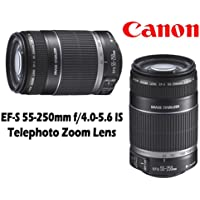 Canon EF-S 55-250MM F/4.0-5.6 IS II Telephoto EOS Camera Zoom Lens + Deluxe Accessory Kit