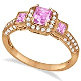 14k Gold Women's Princess Pink Sapphire and Diamond Engagement Ring G-H/SI