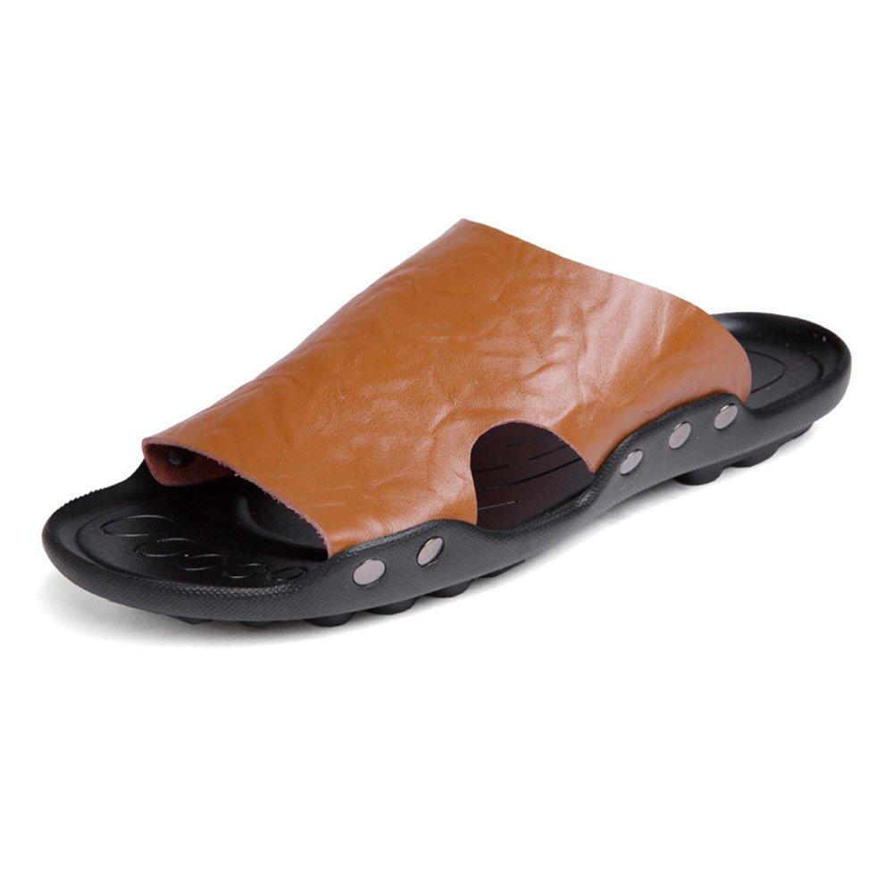 Zapatillas de Hombre de Cuero Genuino Zapatillas de Playa Sandalias Ocasionales Trabajo Hecho a Mano Antideslizantes Zapatos Planos Suaves SIN Pegamento 42 EU|Brown