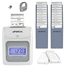 uPunch HN4500 Calculating Time Clock Bundle with 100-Cards and Two 10-Slot Card Racks