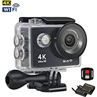 4K Action Camera Ultra HD 1080P WiFi Waterproof Outdoor Sports Camcorder Remote Control 170°Lens 100ft Underwater with 2x1050mAh Batteries Accessories Kit for Skiing, Cycling, Diving, Helmet, Hiking