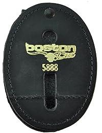 Boston Leather Oval Badge Holder with Swivel Plain Finish (Black Leather)