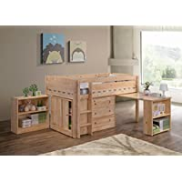 Whistler Junior Loft Bed, Slideout Desk & 3 Drawer Chest - Natural
