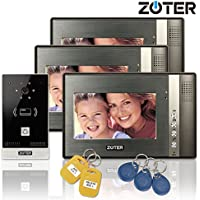 Wired 7 inch LCD Color Video Door Phone Intercom Doorbell 1 Camera 3 Monitor RFID Access Control Security Entry System