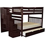 Bedz King Stairway Bunk Beds Full over Full with 4 Drawers in the Steps and a Full Trundle, Cappuccino