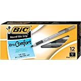 BIC Round Stic Grip Ball Pens Stick, Black, Fine Point, Dozen Box