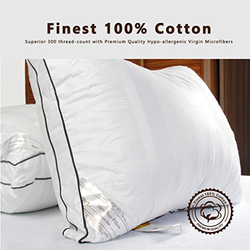 Amazon #LightningDeal 90% claimed: 1 or 2 Pack: DUCK & GOOSE CO Premium Hotel Quality White Microfiber Luxury Down Alternative Pillow, Hypo-Allergenic, 100% Cotton with Elegant Design