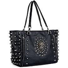 UTO Women Skull Tote Bag PU Washed Leather Rivet Studded Ladies Purse Shoulder Bag