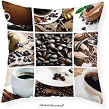 "VROSELV Custom Cotton Linen Pillowcase Kitchen Collage of Coffee and Products Beans Deserts Ice Cream Cinnamon Hot Drink for Bedroom Living Room Dorm Dark and Light Brown 16""x16"""
