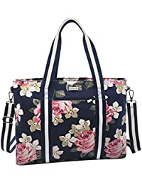 Laptop Tote Bag (Up to 17.3 Inch), Canvas Classic Rose Multifunctional Work Travel Shopping Duffel Carrying Shoulder Handbag Compatible Notebook, MacBook, Ultrabook and Chromebook, Dark Blue