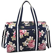 MOSISO Laptop Tote Bag (Up to 17.3 Inch), Canvas Classic Rose Multifunctional Work Travel Shopping Duffel Carrying Shoulder Handbag Compatible Notebook, MacBook, Ultrabook and Chromebook, Dark Blue
