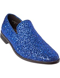 Alberto Fellini Mens Loafer-Fashion Slip-On Sparkling-Glitter Dress Shoes