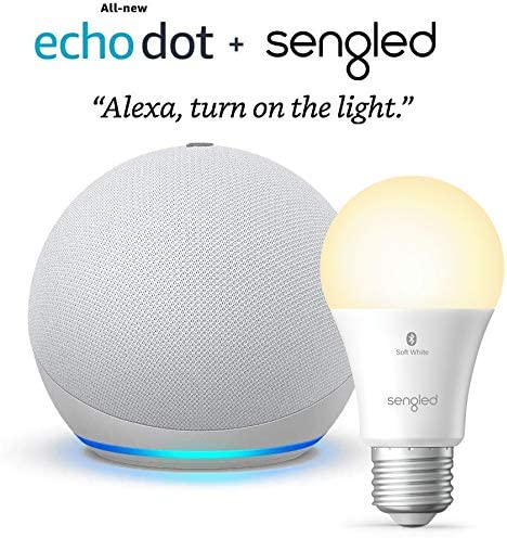 All-new Echo Dot (4th Gen) - Glacier White - package with Sengled Bluetooth bulb