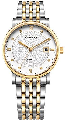 Comtex Luxus Herren-Armbanduhr Golden Gehäuse mit Edelstahl Uhrarmband Kalender Kleid Armbanduhr